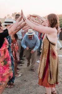 Dance line at a wedding reception